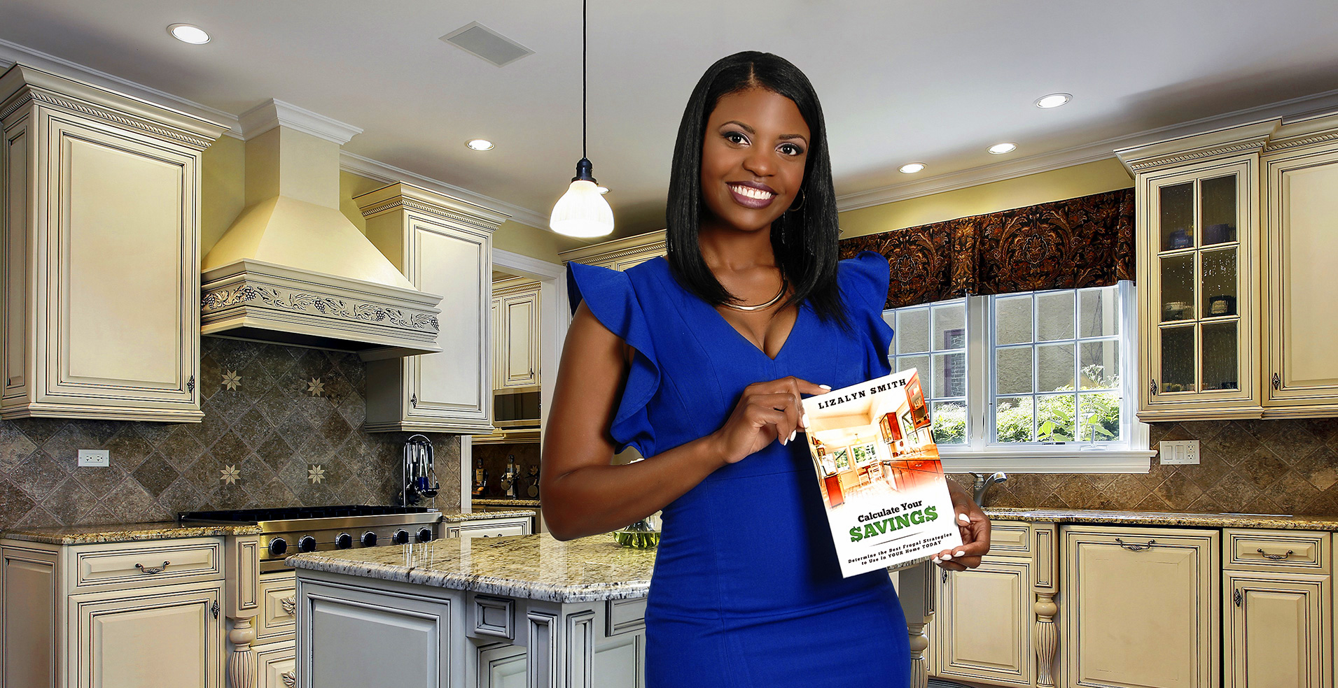 Image: Lizalyn Smith posing with her new book, Calculate Your Savings